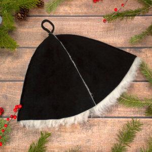 Шапка для бани меховая Черная